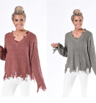 Frayed Edge Yarn Sweater