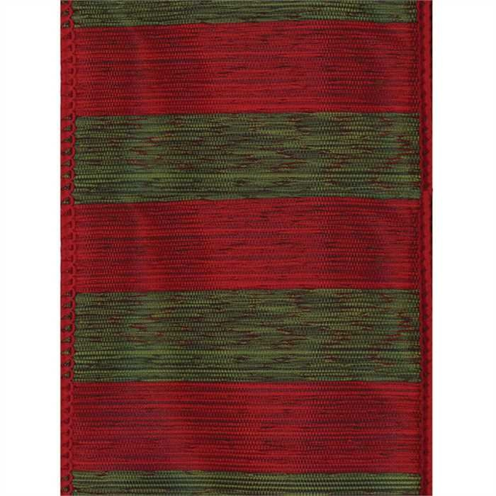 Red & Green Stripe Wired Ribbon