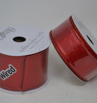 Shimmer Red Wired Ribbon (2 Sizes)