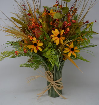 Custom Fall Berry Grass Vase