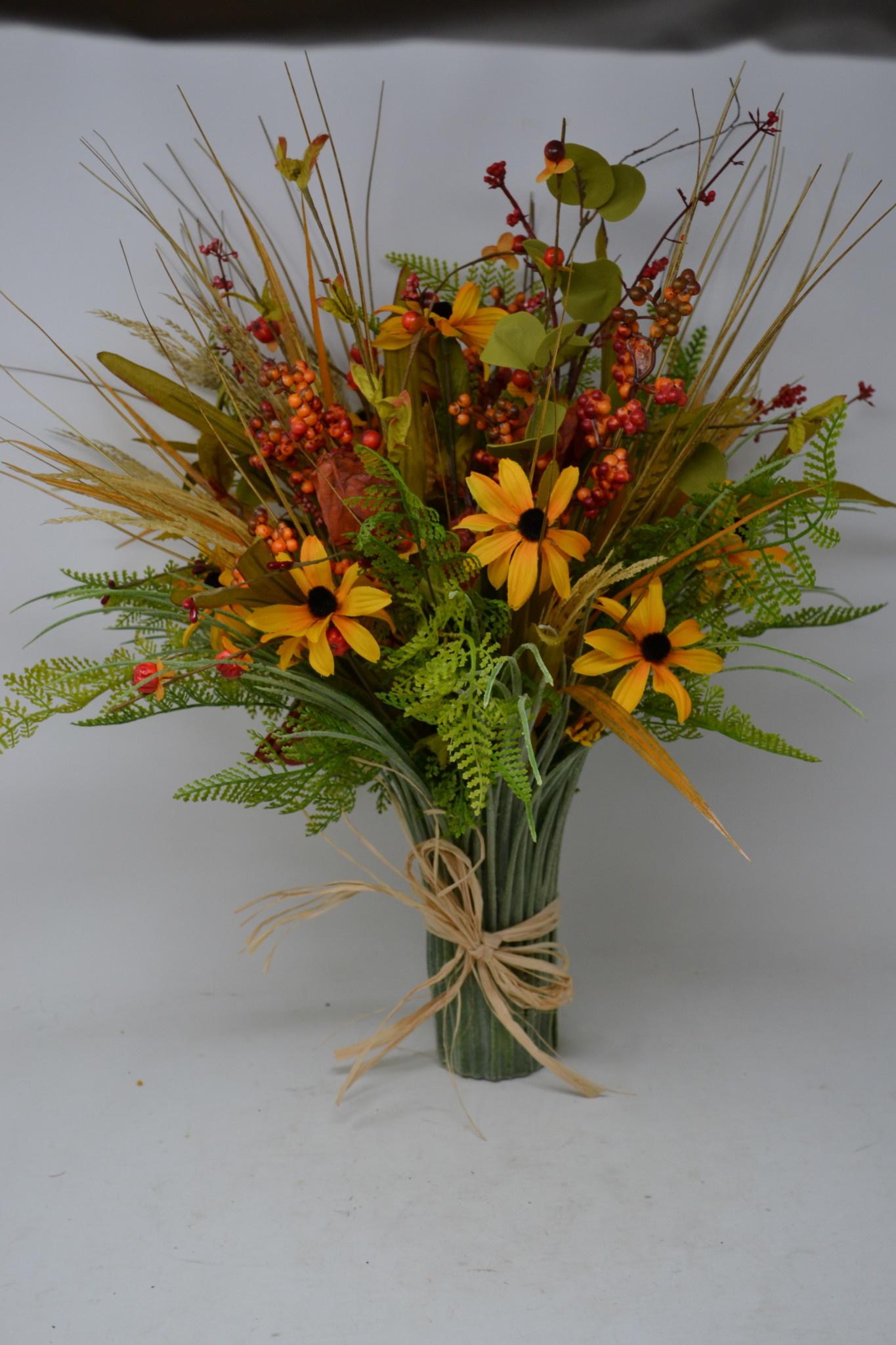 Custom Fall Berry Grass Vase
