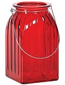 Red Ribbed Glass Vase with Handle