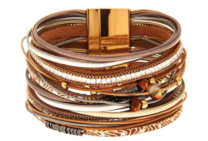Multi Strand Tri-Tone Beaded Bracelet