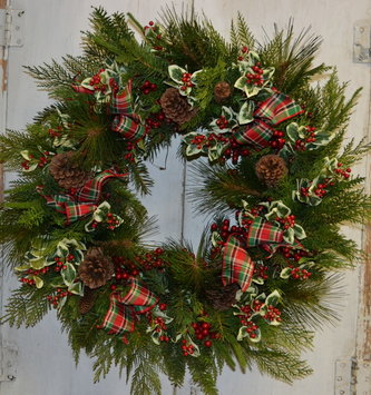 Custom Natural Pine with Plaid Ribbon Wreath