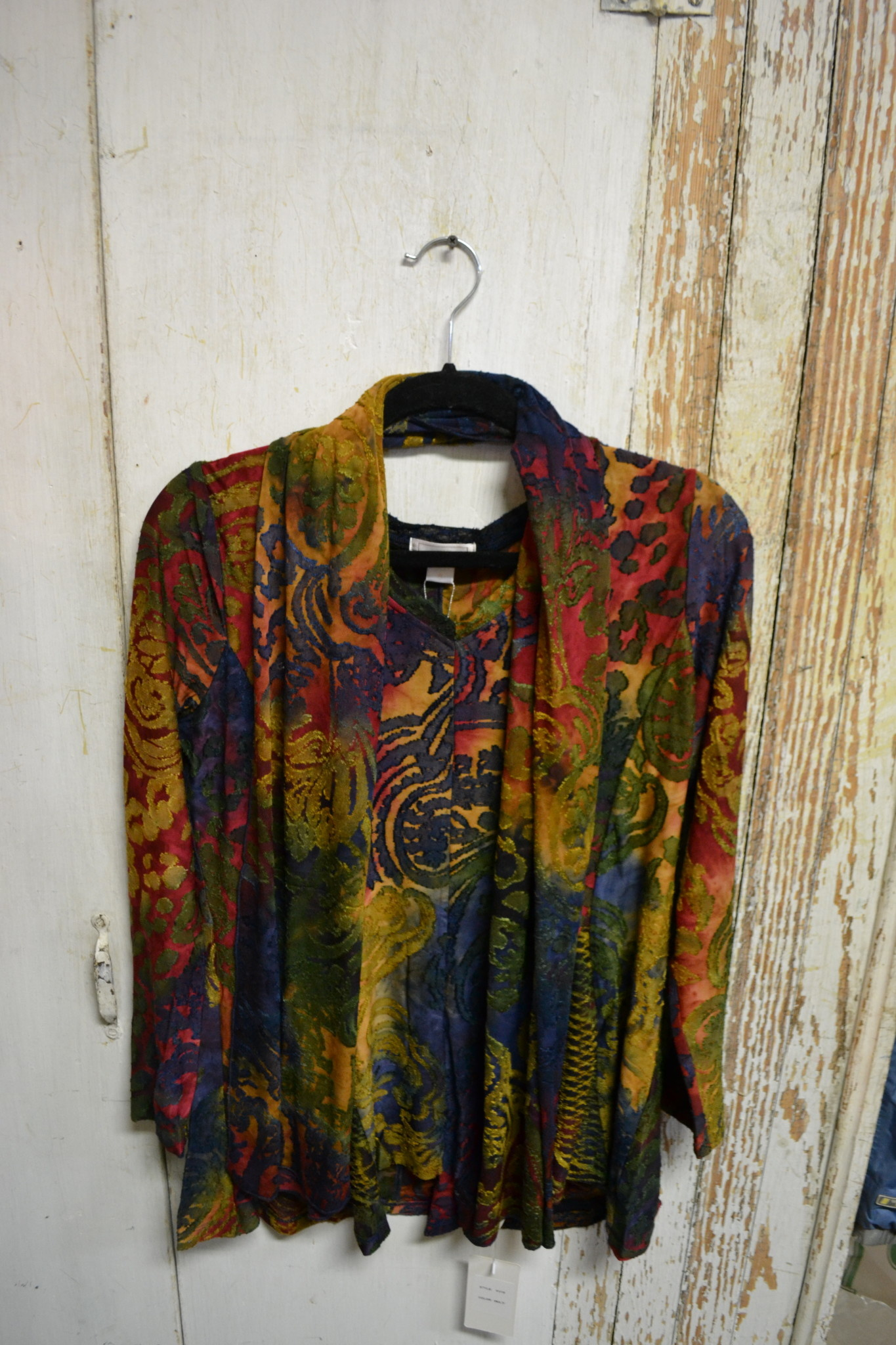 Multi-Print Burnout Tunic with Scarf