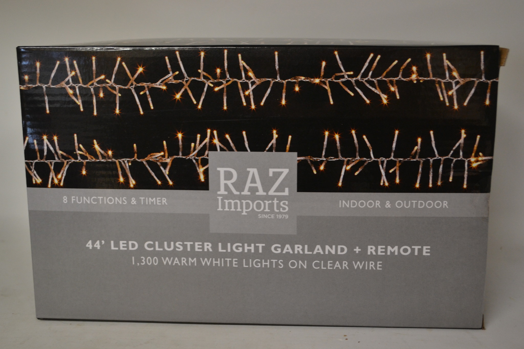 44-Ft. Clear Wire Cluster 1300 White Lights w/ Remote