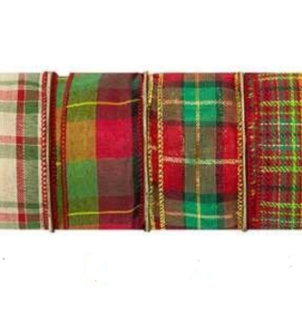 Traditional Plaid Wired Ribbon 10 Yds (6 Styles)