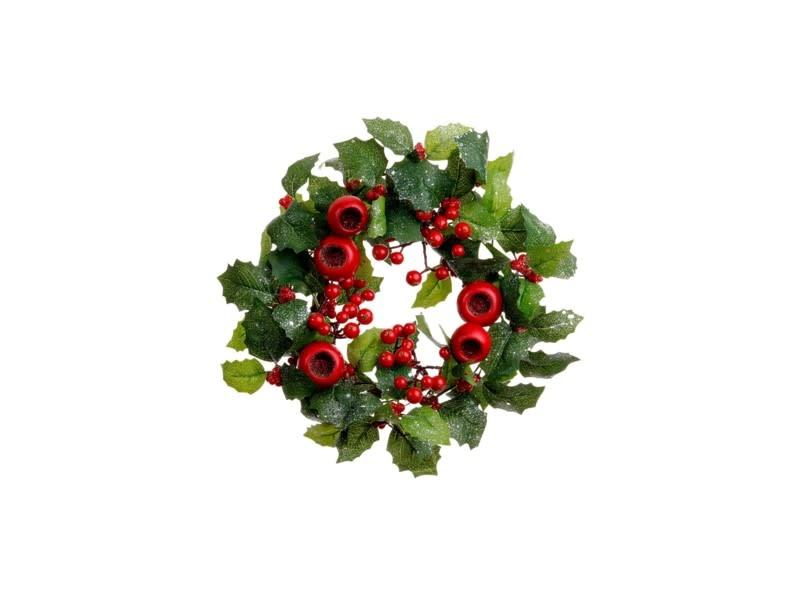Winter Holly Berry Candle Ring
