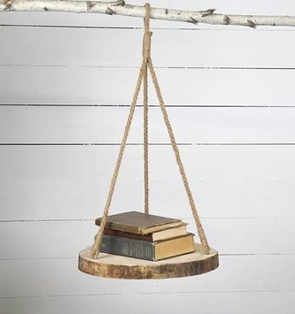 Hanging Natural Birch Slice Shelf