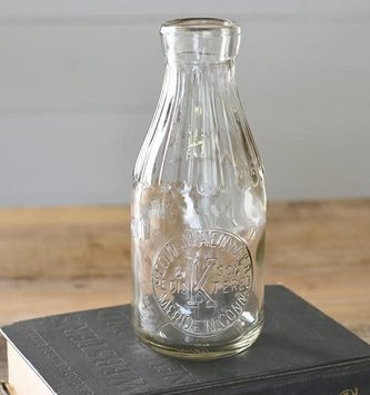 "9"" Vintage Glass Milk Bottle"