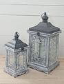 Whitewashed Gray Lattice Lantern