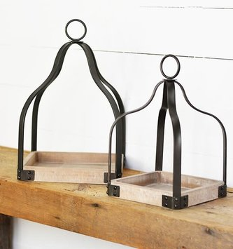 Wood & Metal Open Lantern (2-Sizes)