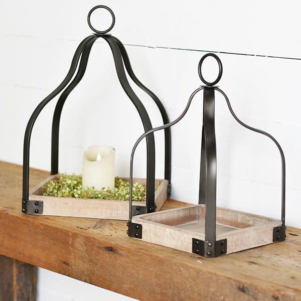 Wood & Metal Open Lantern