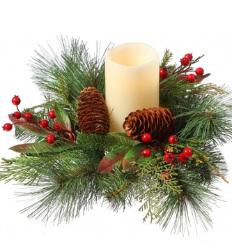 Long Needle Berry Pinecone Candle Ring