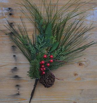 Long Needle Berry Pinecone Pick