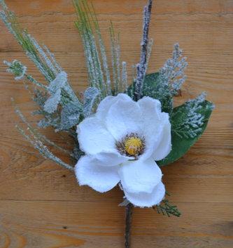 Winter Garden Magnolia Pick