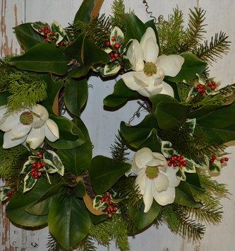 Custom Small Holiday Magnolia Wreath