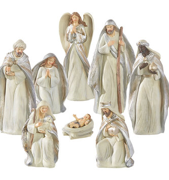 8-Piece Cream and Silver Nativity Set