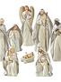 8-Piece Cream and Silver Nativity Set