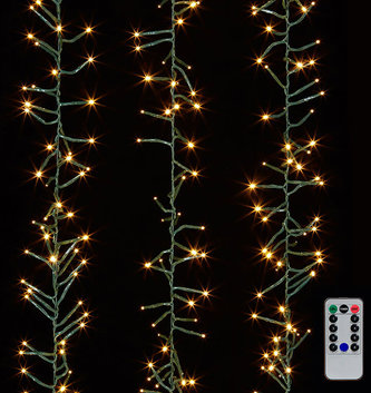 10' Green Wire Cluster Mantle 300 White Lights w/ Remote