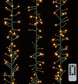 10' Green Wire Cluster Mantel 300 White Lights w/ Remote