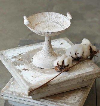 """7.5"""" Vintage Pedestal Candle Holder with Birds"""