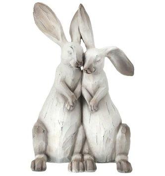 Whitewashed Carved Bunny Couple