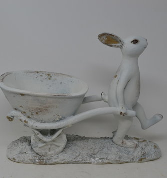 Whitewashed Bunny with Wheelbarrow