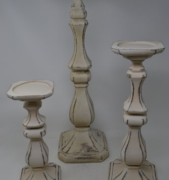 Set of 3 Square Distressed Cream Candlesticks