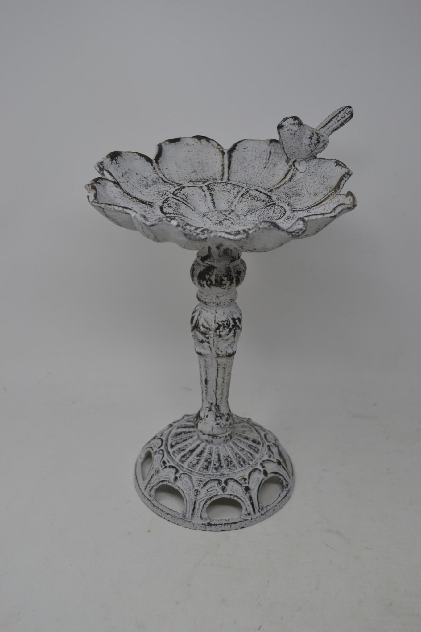 Whitewashed Metal Flower Bird Bath (2 Styles)