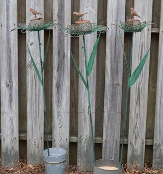 Distressed Green Metal Flower Feeder Stake (3 Styles)