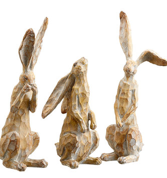 Carved Family of 3 Rabbits