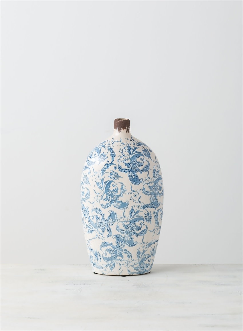 "14"" Narrow Neck Damask Crackle Vase"