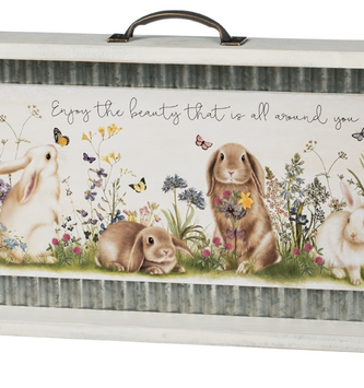 Framed Metal Garden Bunnies Print