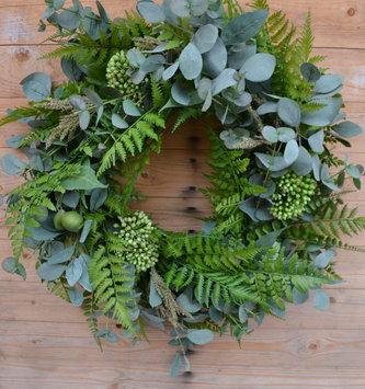 "27"" Eucalyptus Sedum Fern Wreath"