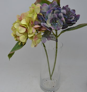 "17"" Hydrangea Pick with Leaves ( 3-Colors)"