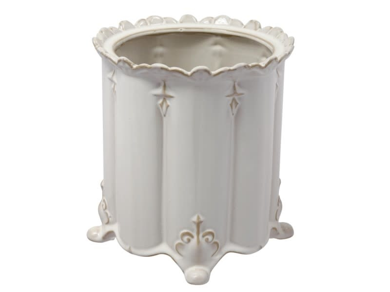 Large Cream Scalloped Vase