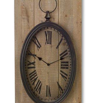 Wood & Metal Clock Wall Plaque