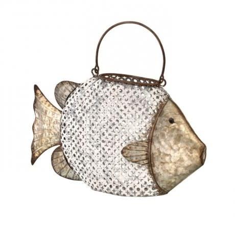 Cut-Out Metal Fish Lantern (2-Colors & 2-Sizes)