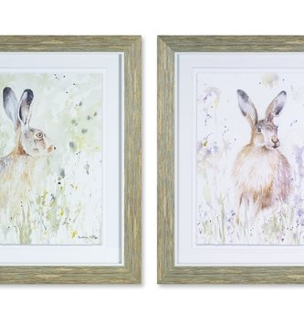 Framed Rabbit in Meadow Print (2 Styles)