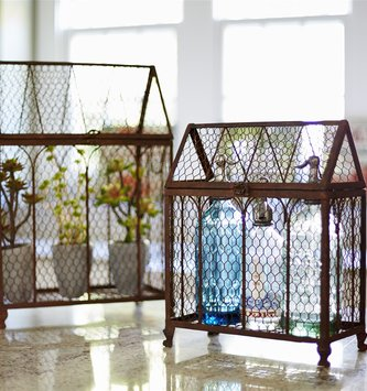 Rustic Chicken Wire Bird Cage (2-Sizes)