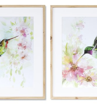 Framed Hummingbird Watercolor Print (2-Styles)