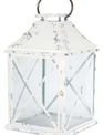 Distressed White Metal Lantern (2-Sizes)