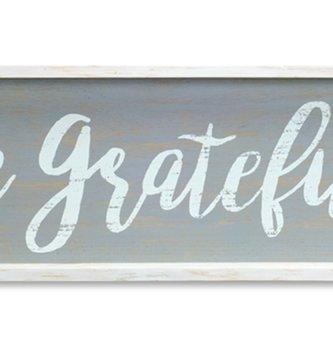 Be Grateful Framed Distressed Wooden Sign