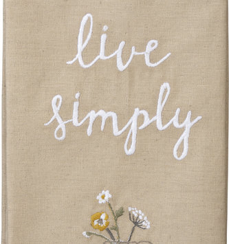 Embroidered Live Simply Tan Towel