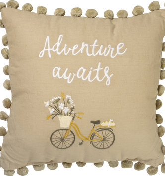 Adventure Awaits Embroidered Bike Pillow
