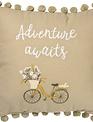 Adventure Awaits Embroidered Bike Pillow