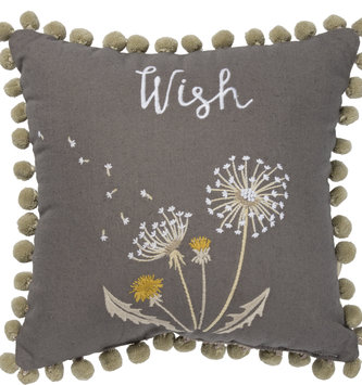 Embroidered Wish Dandelion Pillow
