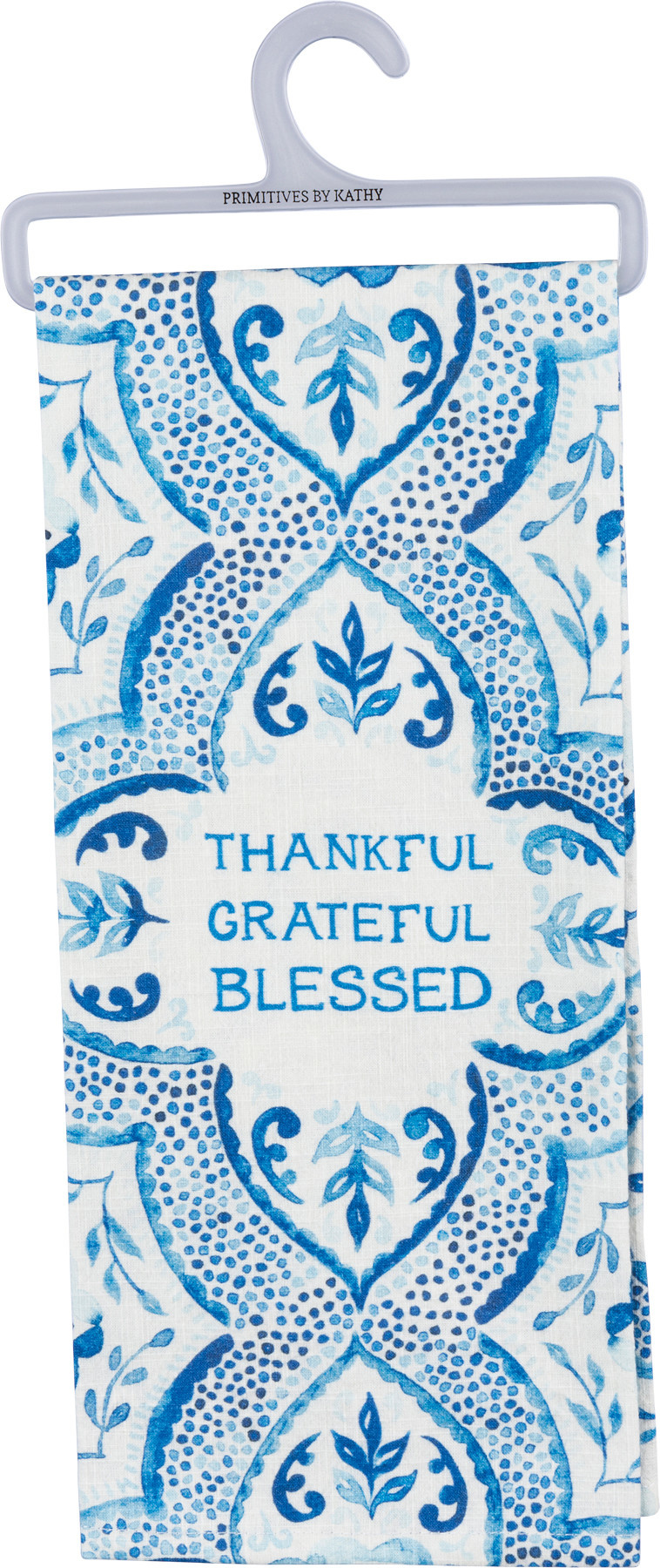 Thankful Grateful Blessed Blue & White Patterned Towel