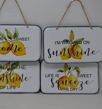 Hanging Enamel Lemon Sign (4-Styles)